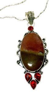 Other Mud Jasper & Garnet Gemstone Pendant Necklace 925 Silver J591