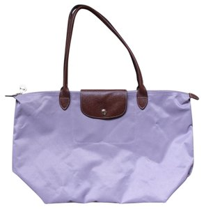 Longchamp Le Pliage Leather Tote in Dusty Rose