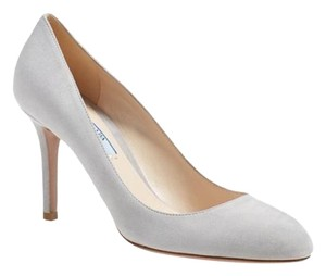 Prada Suede Pump Leather Studded Grey Pumps