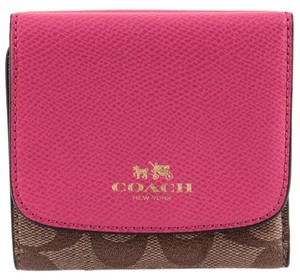 Coach * Coach Trifold Canvas Leather Wallet