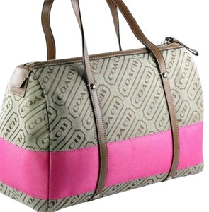 Coach New Khaki Satchel in Signature Stripe in Pink