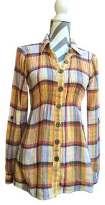 Daytrip Camping Casual Longsleeve Button Down Shirt yellow plaid