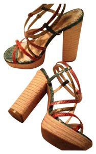 Lulu Townsend Strappy Alligator Rainbow Color Block Chunky Multi Pumps