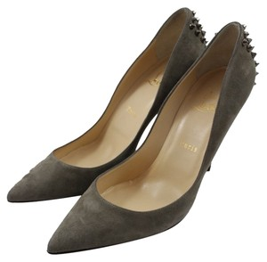 Christian Louboutin Zappa 100mm Spike Suede Dove Grey Pumps