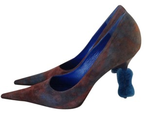 enrico gibellieri Suede multi-color blue/brown with blue mink covered heel Pumps