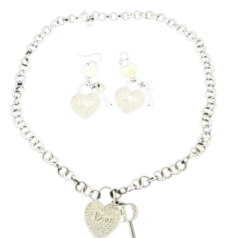 ec6c73e8c830 Dior Christian Dior Crystal Heart Charm Necklace and Earrings ...