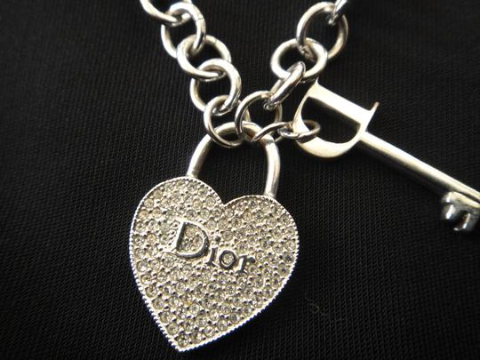69c5e24f0284 Dior Rhodium Crystal Heart Charm and Earrings Necklace - Tradesy
