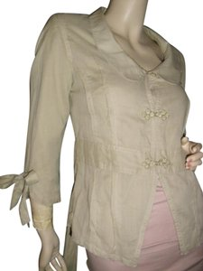 Tulle Button Down Shirt champagne beige