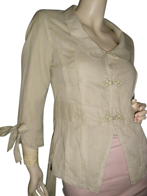 Preload https://img-static.tradesy.com/item/16608064/tulle-champagne-beige-cotton-blousejacket-w-raw-edged-trims-cheongsam-buttons-tie-back-sash-bows-on-0-1-650-650.jpg