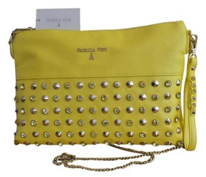 Patrizia Pepe Convertible Crossbody Studded Yellow Clutch