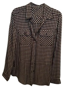 Urban Outfitters Button Down Shirt Black red blue checkered