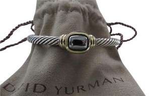 David Yurman Noblesse Collection 5mm Cabochon Hematine SS/14k Cuff, Med