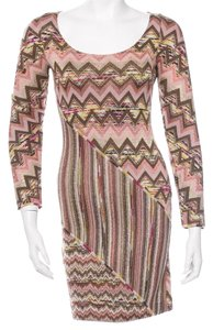 Missoni short dress Beige, Pink, Brown Longsleeve Striped Turtleneck Chevron Logo on Tradesy