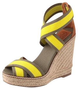 Tory Burch Yellow/Khaki Combo Platforms