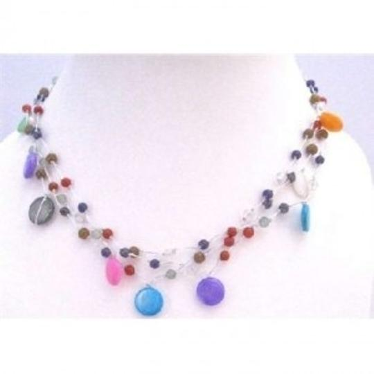 Multicolor Fancy Beads Shell Summer Three Stranded Choker Necklace Jewelry Set