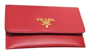 d0ee417a8e7b Prada Red (Fuoco) Saffiano Leather Credit Card Holder Wallet - Tradesy