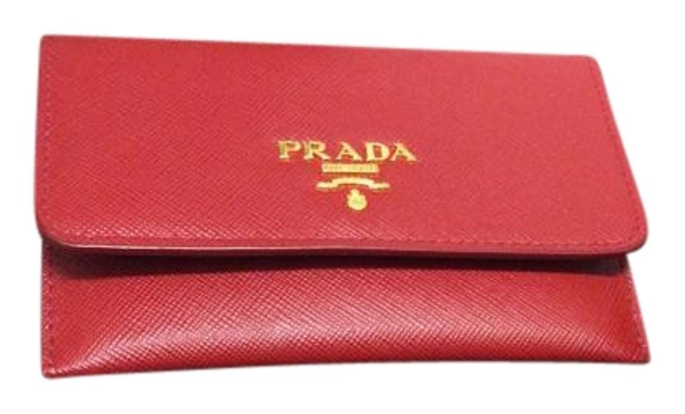 647e1bd76ae1 Prada Red (Fuoco) Saffiano Leather Credit Card Holder Wallet - Tradesy