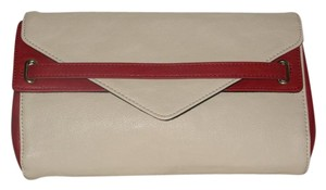 BCBG Paris Color-blocked Envelope Red and Cream Clutch