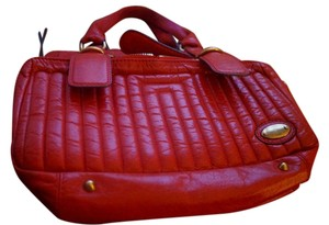 Chloé Leather Quilted Satchel in vermillon (red orange)