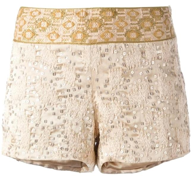 Item - Nude / Gold Embellished and Sequin Woven Shorts Size 2 (XS, 26)