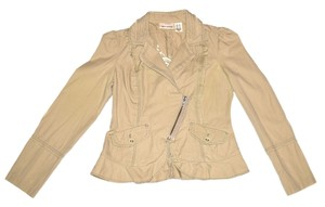 DKNY Feminine Jacket Cute Pretty Geniune Unique Casual Light Sale Tan Blazer