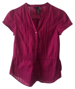 H&M Short Sleeves Shirt Button Down Shirt Burgundy
