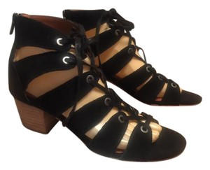 Lucky Brand Lace Up Black -seude Sandals
