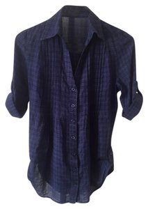 Forever 21 Button Down Shirt Dark Blue