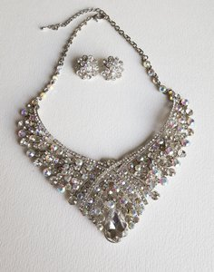 Crystal Earring And Necklace Set - Bridal
