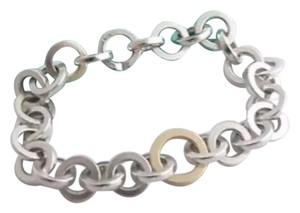 Tiffany & Co. TIFFANY & CO CIRCLE LINK BRACELET 925 SILVER + 18K GOLD *RARE*