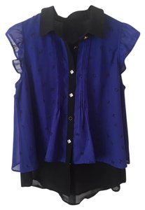 & Other Stories Shirts Textured Stylish Button Down Shirt Blue/Black