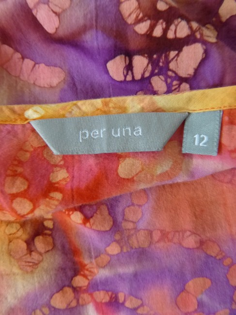 Per Una by Mark Spencer Tie Dyed Purple Orange Yellow Lace Holiday Top Multi