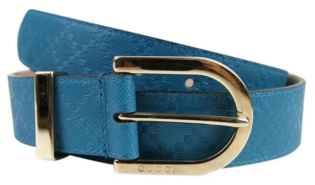 Gucci Teal 4618 W Womens Diamante Leather W/Gold Buckle 90/36 354382 Belt Gucci Teal 4618 W Womens Diamante Leather W/Gold Buckle 90/36 354382 Belt Image 1