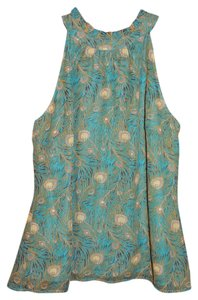 Liberty of London for Target Top Green Peacock Feather Print