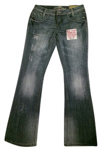 Almost Famous Clothing Juniors Lightly Distressed Embroidered 5 Pockets Boot Cut Jeans-Distressed