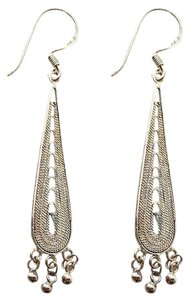Quicksilver Handcrafted Sterling Silver Filigree Teardrop Dangle Earrings