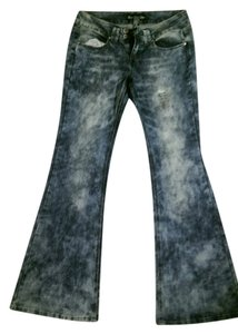 Vanilla Star Rinse Extended Tab Double Button 4 Pockets Tie Dye Bnwot Flare Leg Jeans-Acid
