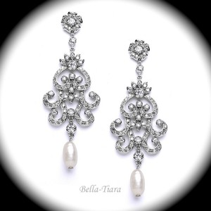 Bella Tiara Elegant Wedding Chandelier Earrings