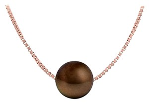 LoveBrightJewelry Cultured Chocolate Akoya Pearl Pendant in Silver Rose Vermeil Chain 9 MM