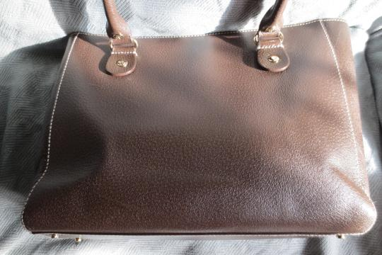 Kate Spade Hand-painted Leather Leather Quinn Vintage Embossed Leather Nice Condition Satchel in Brown