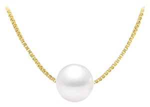 LoveBrightJewelry Cultured White Akoya Pearl Pendant in Silver Yellow Vermeil Chain 9 MM