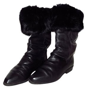 Other Rabbit Fur Trim Vintage Black Boots