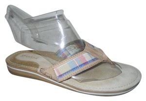 Sperry Leather Thong tan multi plaid Sandals