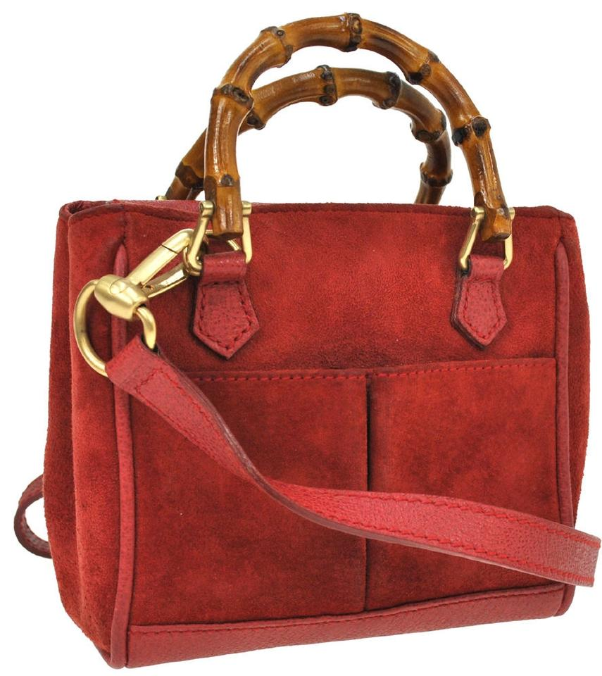 915291d99df Gucci Bamboo Handle 2way Hand Red Suede Leather Vintage Shoulder Bag ...