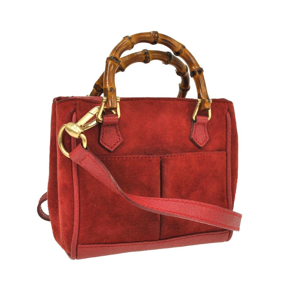 adcdce80b35b Gucci Bamboo Handle 2way Hand Red Suede Leather Vintage Shoulder Bag -  Tradesy