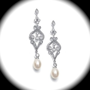 Bella Tiara Vintage Pearl Bridal Earrings
