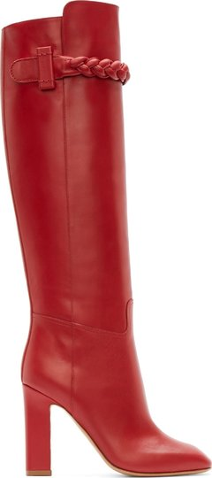 Valentino Tbc Over The Knee To Be Cool Braided Red Boots Image 1