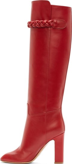 Valentino Tbc Over The Knee To Be Cool Braided Red Boots Image 3