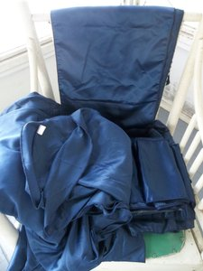 132' Round Tablecloth 19 Chair Sashes 3 Runners Navy Blue Lamour Satin