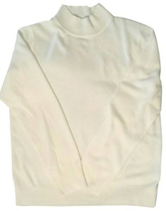 Sag Harbor Size 12 Large Cream Off White Turtleneck Sweater